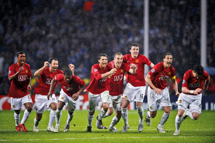 Manchester United celebrate the Champions League 2008