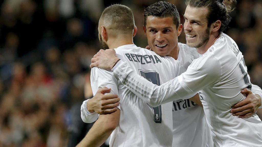 100 — Cristiano Ronaldo, Karim Benzema, Gareth Bale (2014/15)