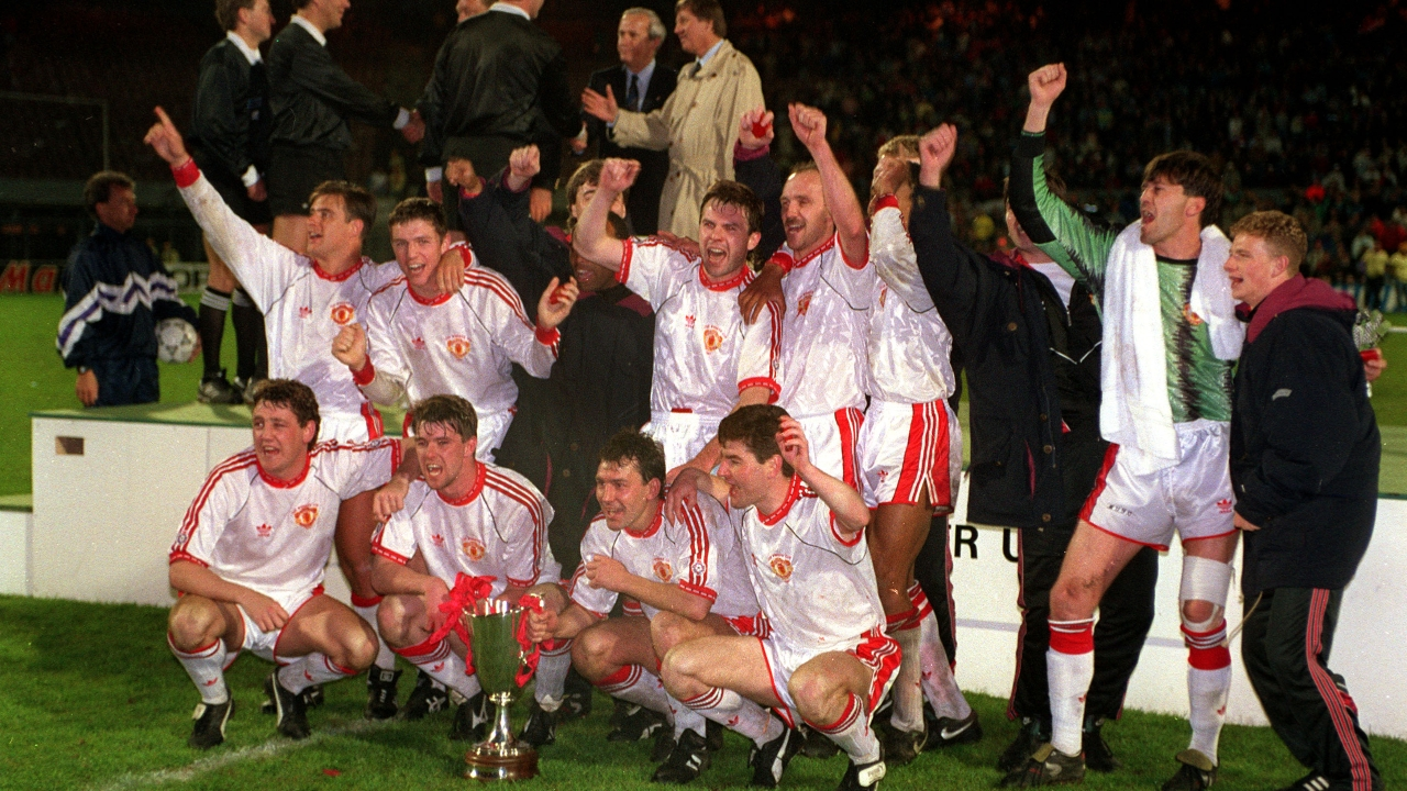 Manchester United after winning the Cup Winners' Cup 1991
