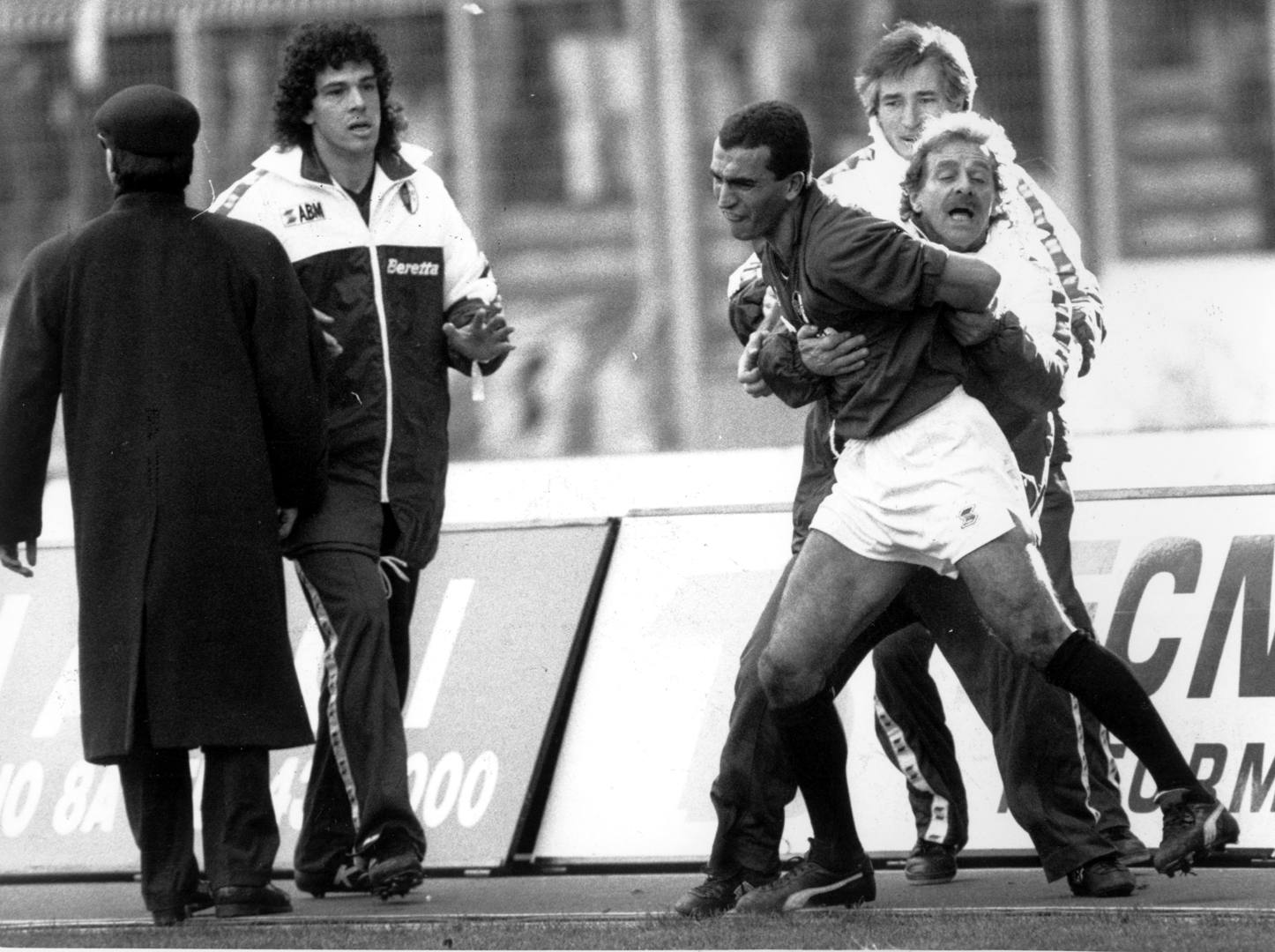 Pasquale Bruno after the red card in the 1991 Derby