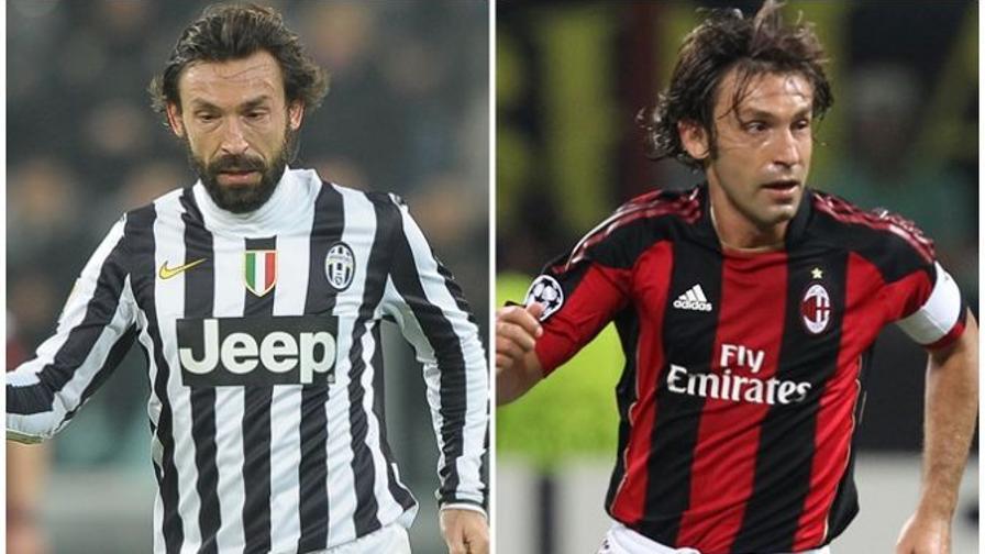 Pirlo playing with AC Milan and Juventus