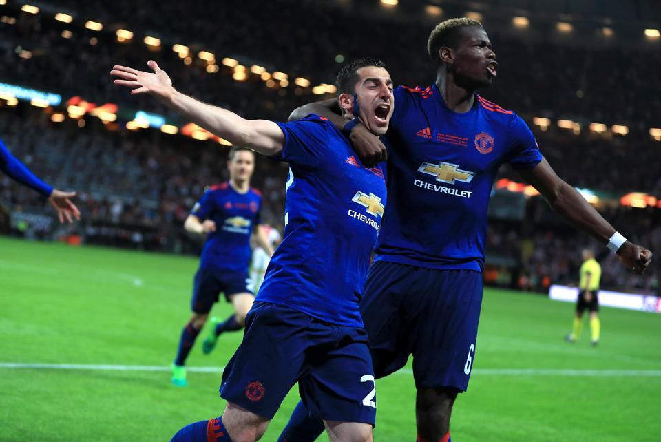 Manchester United Ajax Paul Pogba and Henrikh Mkhitaryan celebration