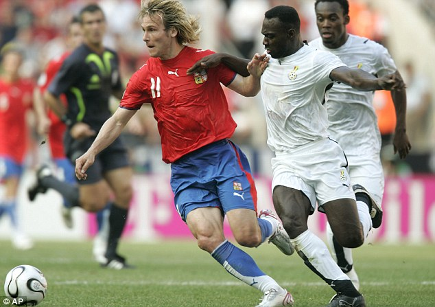 Nedved playing with Czech Republic
