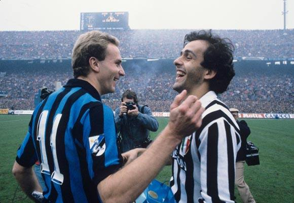Serie A 1984-85 - Inter vs Juventus - Karl-Heinz Rummenigge and Michel Platini