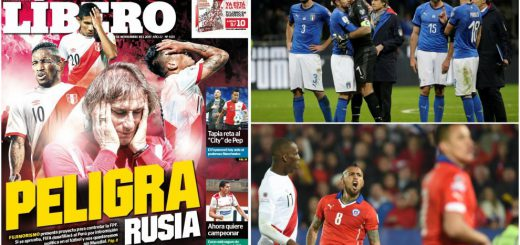 Italy or Chile in the World Cup and Perù excluded from the World Cup 2018?