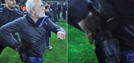 PAOK President carrying gun